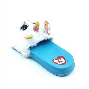 6e1644bd8 TY Beanie Boo Shoes - NWT Beanie Boo Girls Blue Fluffy Unicorn Slides 🦄
